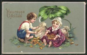 Lithographie Kinder mit Münzsäcken und Kleeblatt