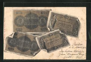 AK Französische Geldscheine: Mille Francs, Cent Francs & Cinquante Francs