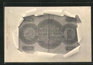 AK Französischer Geldschein Cinq Cents Francs