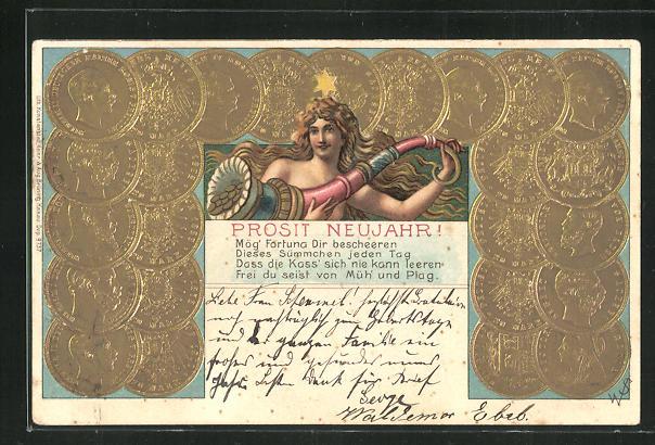 Präge-AK Goldmünzen Deutsches Reich, Germania 0