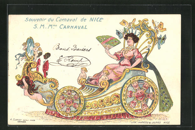 Lithographie Nice, S.M.Mme. Carnaval im Prunkwagen 0
