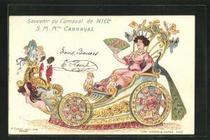 Lithographie Nice, S.M.Mme. Carnaval im Prunkwagen