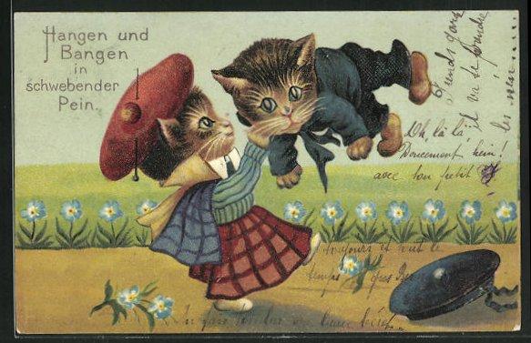 Präge-AK Katzenmädchen wirft kleinen Kater übers Knie 0