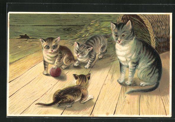 Präge-AK Katzenfamilie in der Scheune 0