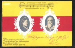 Präge-AK Königspaar von Baden auf den Landesfarben, Deutschlandlied