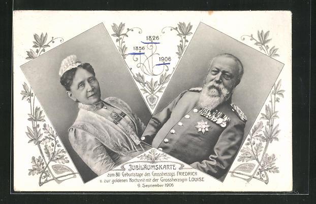 AK Jubiläumskarte zum 80. Geburtstag des Grossherzogs Friedrich von Baden 1906 0