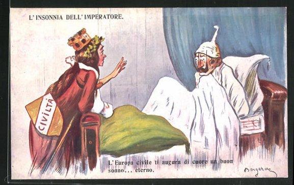 Künstler-AK L`Insonnia dell` Imperatore, Kaiser Wilhelm II. im Bett, Propaganda Entente 0