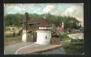 AK Halle a. S., Zoologischer Garten mit Haupteingang