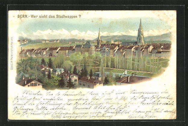 Lithographie Bern, Wer sieht das Stadtwappen, Suchbild 0