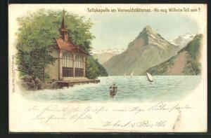 Lithographie Vierwaldstättersee, Tellskapelle, Wo mag Wilhelm Tell sein?, Suchbild
