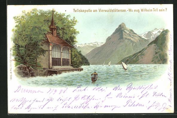 Lithographie Vierwaldstättersee, Tellskapelle, Wo mag Wilhelm Tell sein?, Suchbild 0