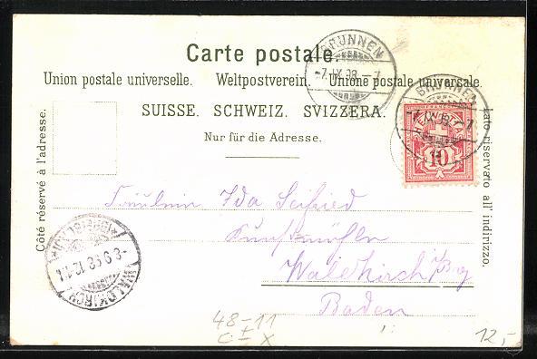 Lithographie Vierwaldstättersee, Tellskapelle, Wo mag Wilhelm Tell sein?, Suchbild 1