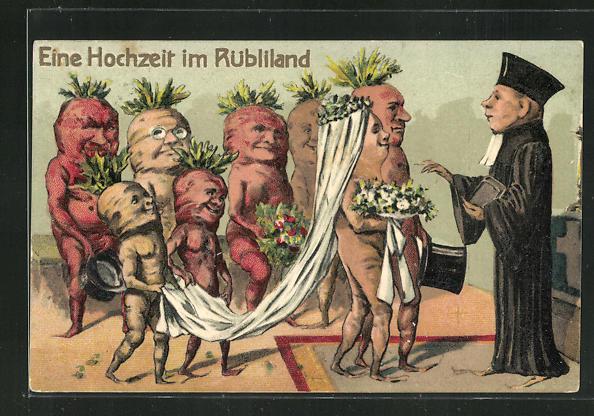 Künstler-AK Eine Hochzeit im Rübliland 0