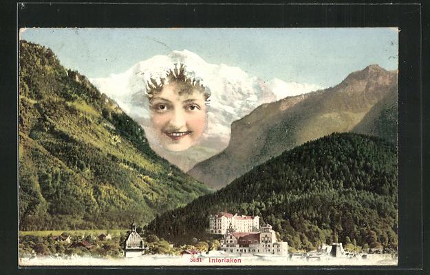 AK Interlaken, Panorama mit Berggesicht, Berggesichter 0