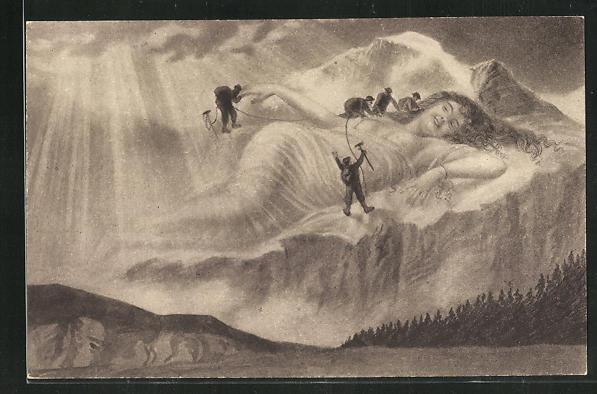 AK Bergsteiger an der Jungfrau, Berg mit Gesicht / Berggesichter 0