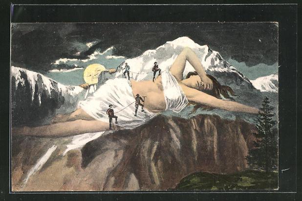 AK Bergsteiger klettern auf die Jungfrau bei Mondschein, Berg mit Gesicht / Berggesichter 0