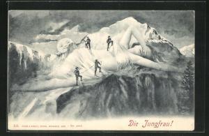 Künstler-AK Bergsteiger klettern auf die Jungfrau, Berg mit Gesicht / Berggesichter