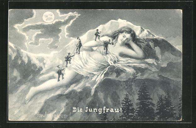 Künstler-AK Bergsteiger auf der Jungfrau bei Mondschein, Berg mit Gesicht / Berggesichter 0