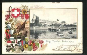 Passepartout-AK Zürich, Eidgenössisches Turnfest 1903, Dampfer, Wappen