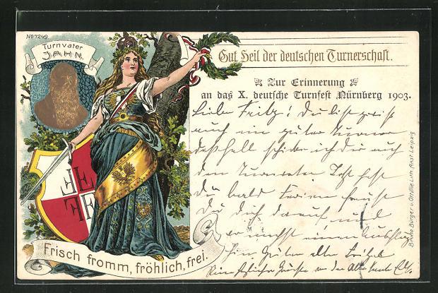 Lithographie Nürnberg, X. Deutsches Turnfest 1903, Turnvater Jahn 0