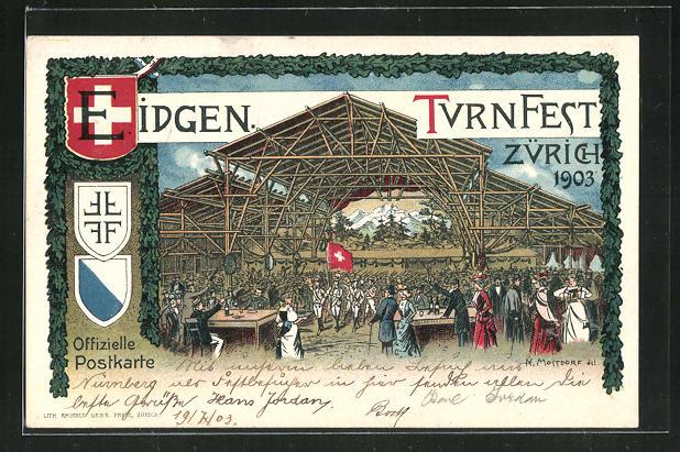 Lithographie Zürich, Eidgen. Turnfest 1903, Wappen 0
