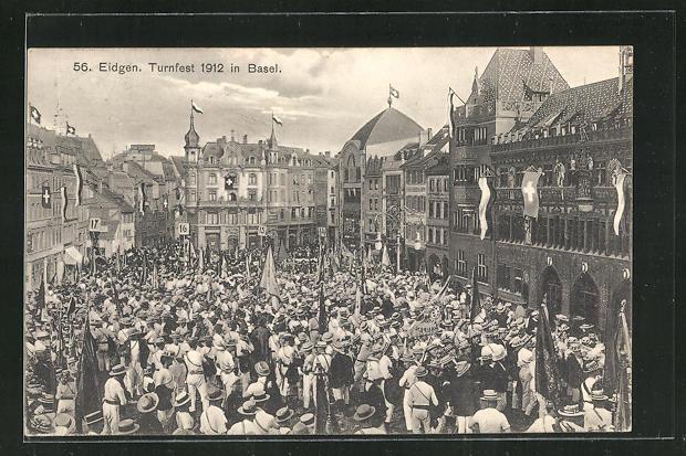 AK Basel, Eidgen. Turnfest 1912, Festzug 0