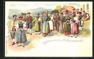 Lithographie Dorfleben in Schwarzwälder Tracht