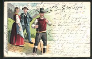 Lithographie Dorfleben mit Männern und Frau in Schwarzwälder Tracht