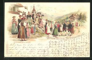 Lithographie Schwarzwälder Dorfleben mit Volkstrachten