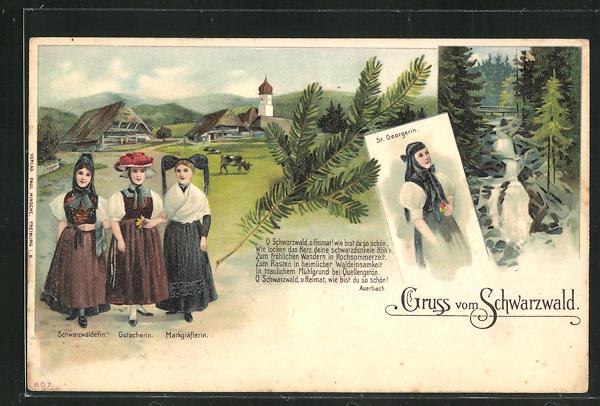 Lithographie Damen aus St. Georgen, Gutach und dem Schwarzwald in Volkstracht 0
