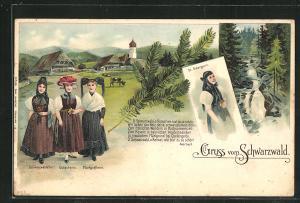 Lithographie Damen aus St. Georgen, Gutach und dem Schwarzwald in Volkstracht
