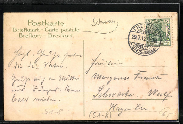 Lithographie Damen aus St. Georgen, Gutach und dem Schwarzwald in Volkstracht 1