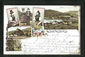 Lithographie Titisee, Panorama und Schwarzwälder Trachten