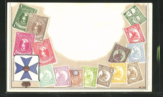 Lithographie Briefmarken aus Queensland mit Wappen 0
