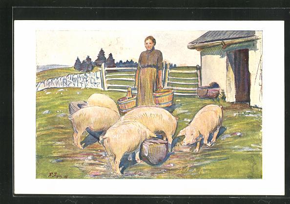 Künstler-AK Bäuerin füttert die Schweine auf der Wiese 0