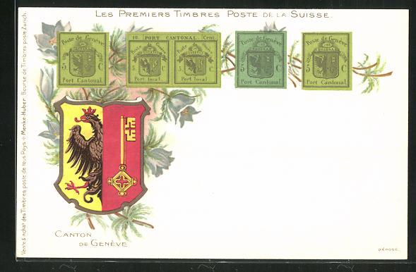 Lithographie Les Premiers Timbres Poste de la Suisse, Wappen 0