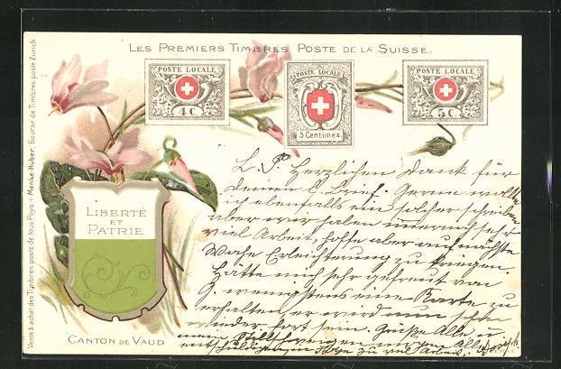 Lithographie Les Premiers Timbres Poste de la Suisse, Briefmarken und Wappen 0