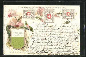 Lithographie Les Premiers Timbres Poste de la Suisse, Briefmarken und Wappen