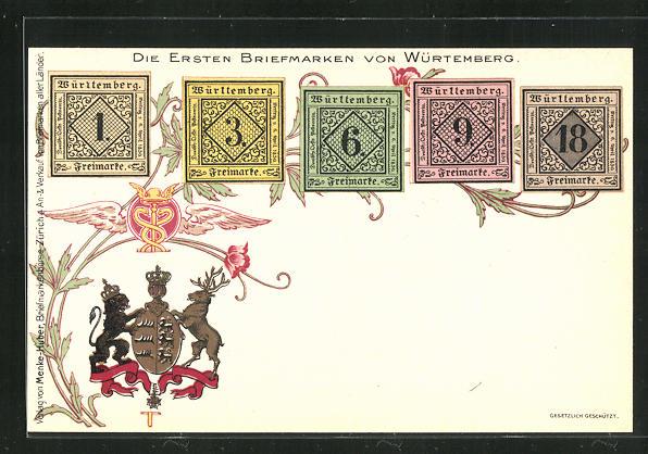 Lithographie Die ersten Briefmarken von Würtemberg, Wappen 0