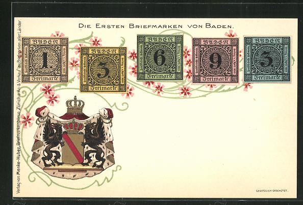 Lithographie Die ersten Briefmarken von Baden, Wappen 0