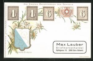 Lithographie Die ersten Briefmarken der Schweiz, Canton Zürich, Wappen