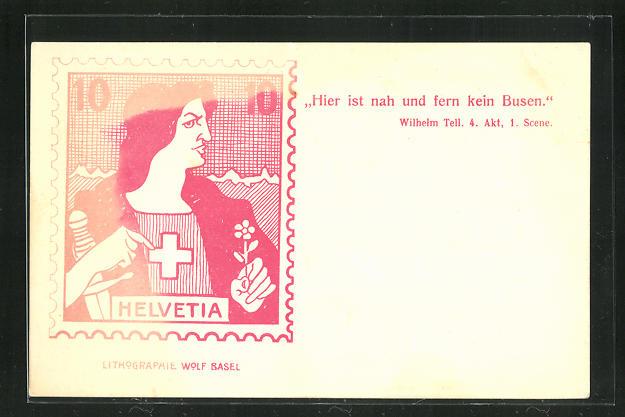 AK Briefmarke Helvetia, Hier ist nah und fern kein Busen 0