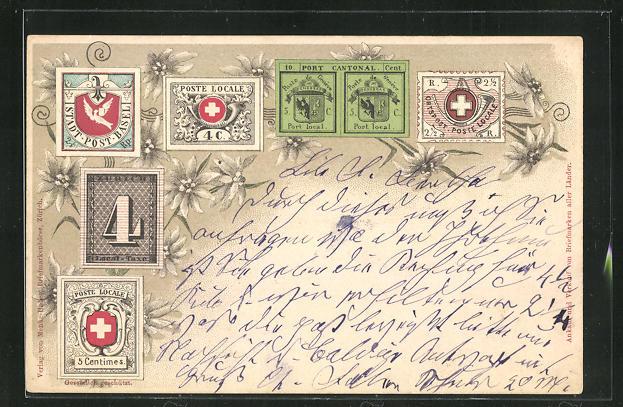 Lithographie Briefmarken Stadt-Post-Basel, Poste de Geneve & Poste Locale 0