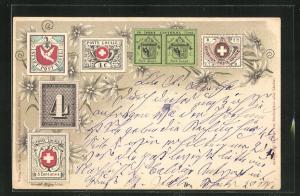 Lithographie Briefmarken Stadt-Post-Basel, Poste de Geneve & Poste Locale