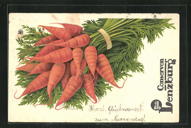 AK Reklame Conserven Hero Lenzburg, Karotten 0