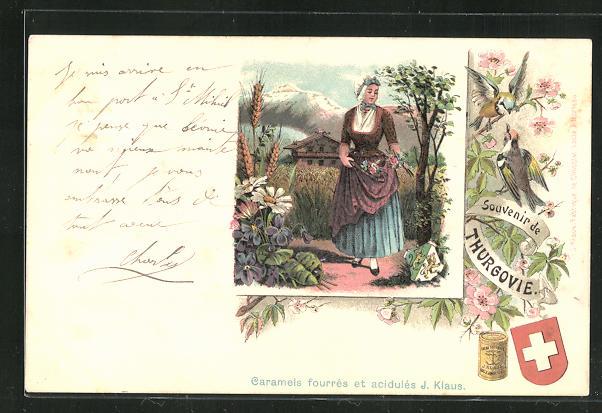 Lithographie Thurgovie, Dame in Volkstracht, Caramels fourres et acidules J. Klaus, Reklame Kakao 0