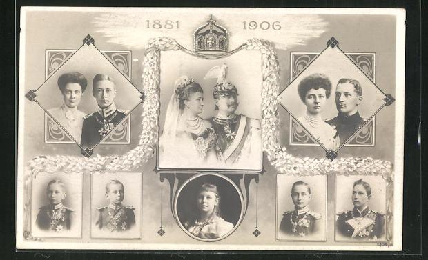 AK Kaiserpaar von Preussen mit Kronprinz und Familie 0