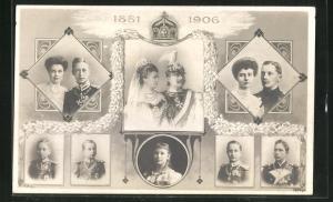 AK Kaiserpaar von Preussen mit Kronprinz und Familie