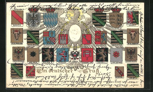 Präge-AK Wappen Deutschlands mit Schwarzburg-Sond., Waldeck & Oldenburg 0