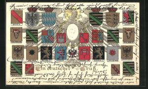 Präge-AK Wappen Deutschlands mit Schwarzburg-Sond., Waldeck & Oldenburg